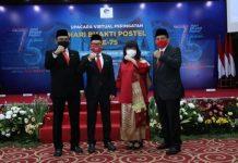 "Upacara Virtual Peringatan Hari Bhakti Postel ke-75 bertema ""Transformasi Digital untuk Indonesia Maju"" pada 28 September 2020."