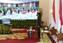 Presiden Jokowi saat memberikan sambutan melalui konferensi video dalam acara peresmian pembukaan Konferensi Besar XXIII Gerakan Pemuda (GP) Ansor Tahun 2020 pada Jumat, 18 September 2020.
