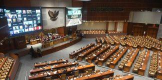 Suasana Rapat Paripurna DPR di Kompleks Parlemen Senayan Jakarta.