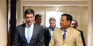 Menteri Pertahanan Amerika Serikat (AS), Mark Esper dan Menteri Pertahanan RI Prabowo Subianto.