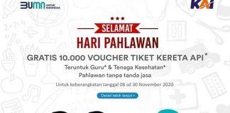 PT Kereta Api Indonesia (KAI) memberikan 10.000 tiket gratis untukguru dantenaga kesehatan.