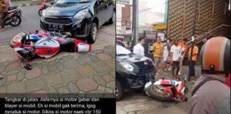 Kecelakaan mobil Daihatsu Ayla yang menyeruduk motor sportHonda CBR1000RR SPdi Kota Purwokerto, Kabupaten Banyumas, Jawa Tengah.