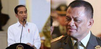 Presiden Jokowi dan Mantan Panglima TNI Jenderal Purnawirawan Gatot Nurmantyo.
