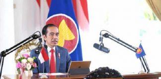 Presiden Joko Widodo saat memberikan pidato pada KTT ke-23 ASEAN-RRT secara virtual dari Istana Kepresidenan Bogor, Jawa Barat, Kamis, 12 November 2020.
