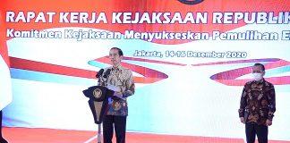Presiden Jokowi Saat menyampaikan sambutan secara virtual pada Rapat Kerja Kejaksaan Republik Indonesia Tahun 2020.