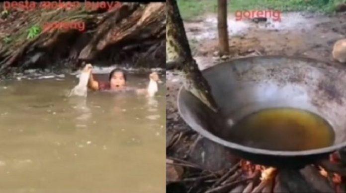 Viral, Video Wanita Tangkap Buaya Pakai Tangan Kosong untuk Digoreng.